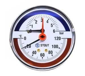 Watts F+R828 Термоманометр DN 80 (0-4 бар)