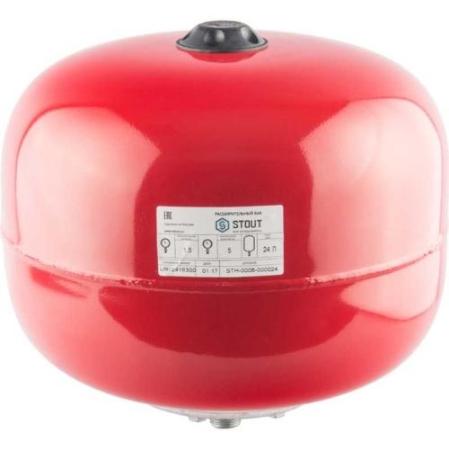 Расширительный бак на отопление 24л. (цвет красный)